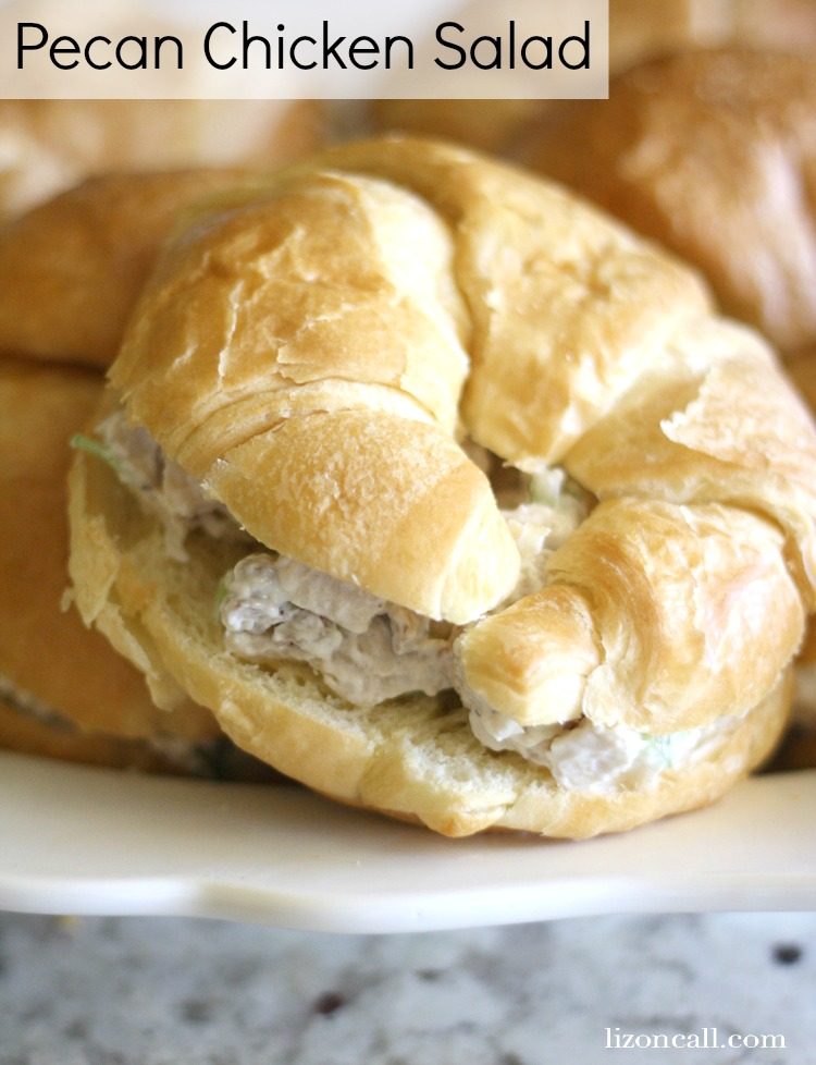Pecan chicken salad sandwiches. These are great for serving at parties, luncheons or showers. - lizoncall.com