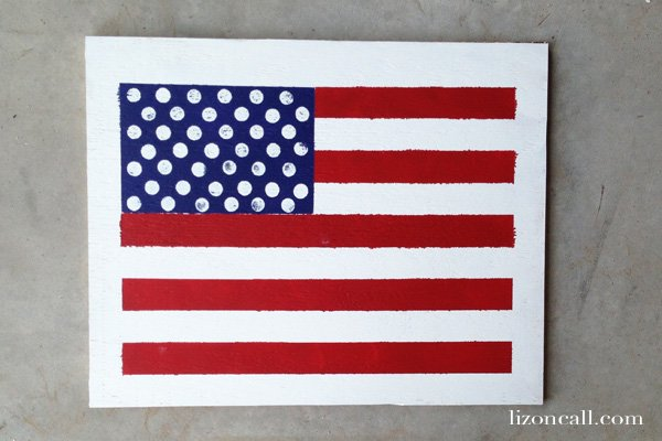 Hand painted american flag sign tutorial, perfect 4th of July decor - lizoncall