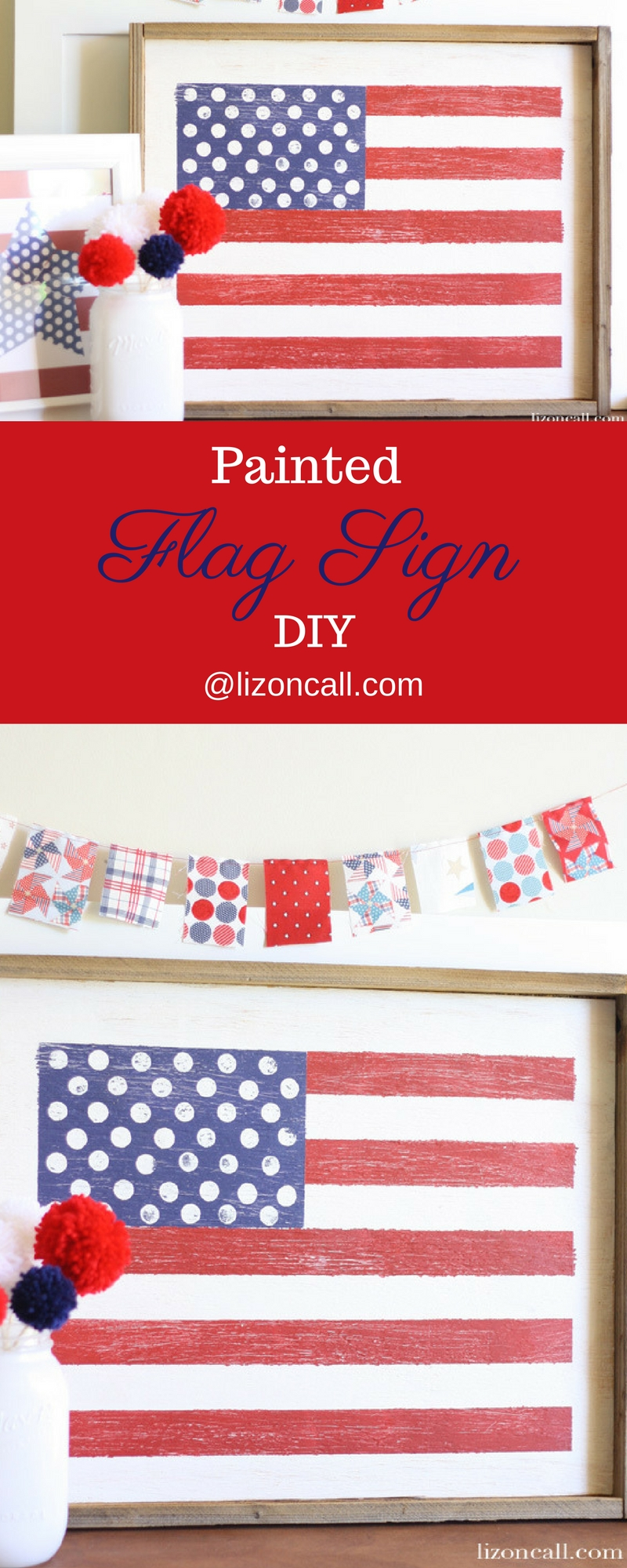 Get the easy step by step tutorial for this wood painted american flag sign. It is a perfect display for your 4th of July party, decoration or everyday.