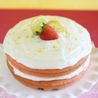 Strawberry Cake with Lemonade Frosting