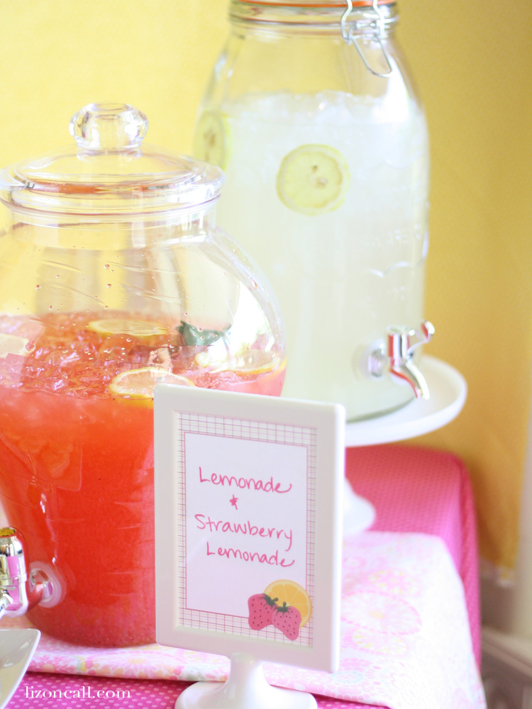 Cute strawberry lemonade birthday party theme with free party printables. - lizoncall.com