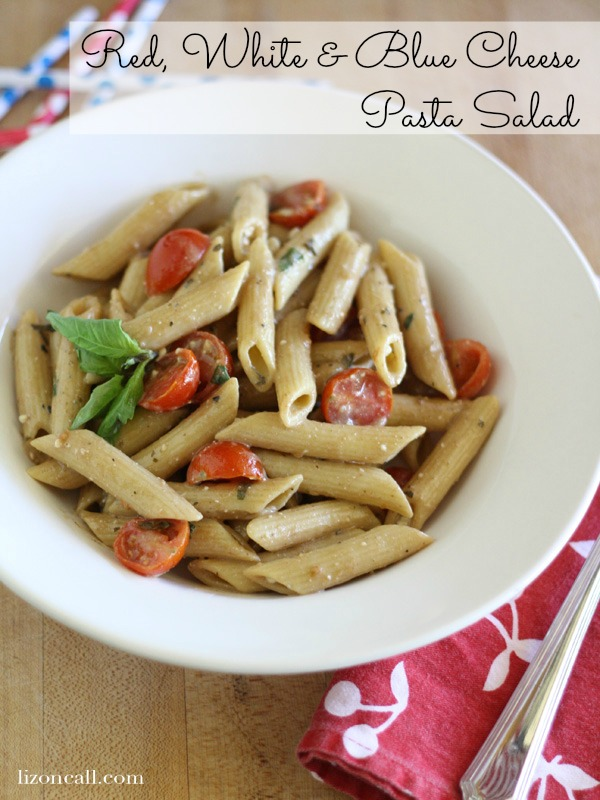 Red, white and blue cheese pasta salad a perfect side dish for your summer BBQs. - lizoncall.com