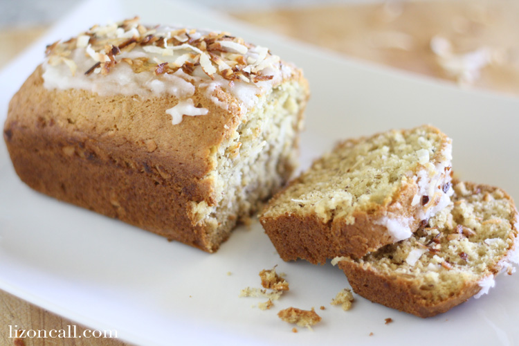 Coconut Banana Bread with coconut glaze and toasted coconut topping - lizoncall.com