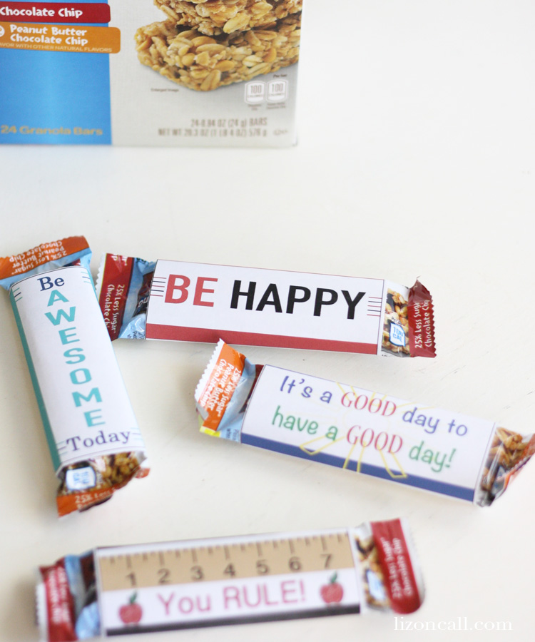 Printable quaker chewy granola bar wrappers perfect for school lunch boxes #quakertime #ad