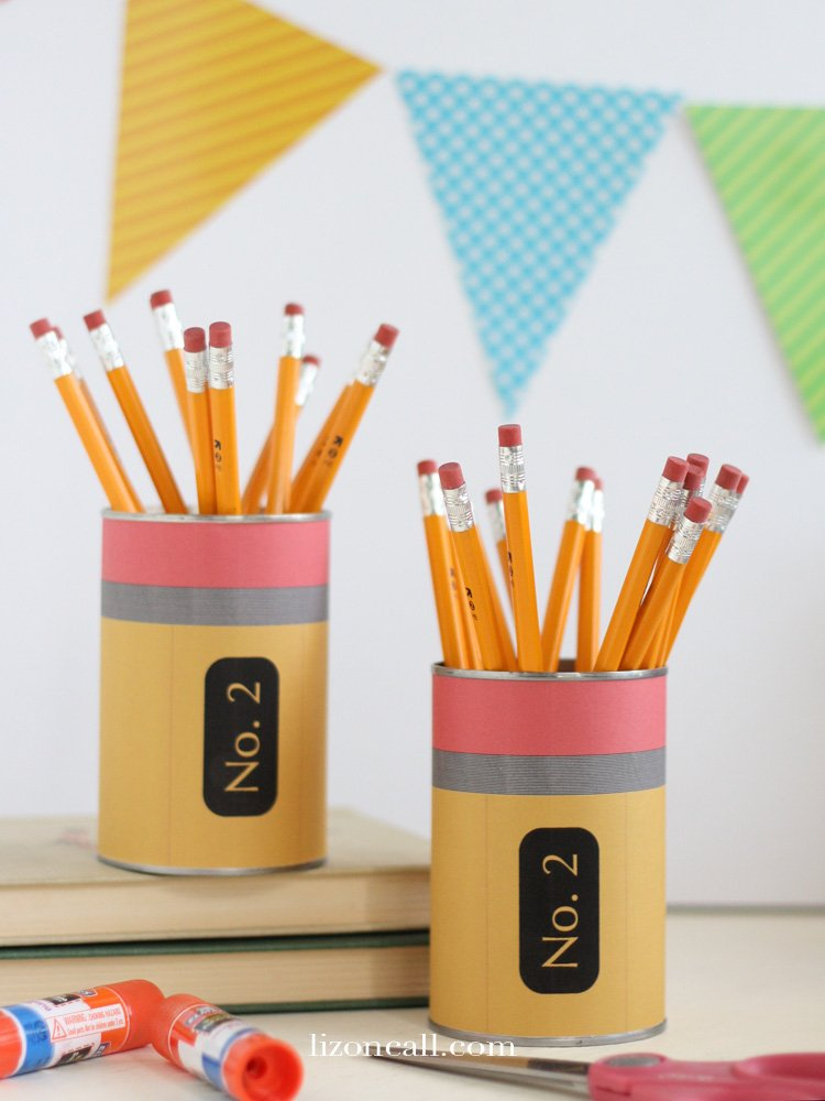 Printable Pencil wrapper to make a cute pencil holder out of a tin can.  Perfect for back to school Teacher gift. - lizoncall.com