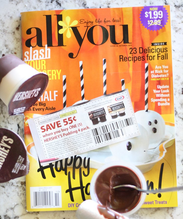 Save on Hershey's ready to eat pudding using the coupon on the Oct. 2015 issue of All You Magazine. Then see how you can make snack time fun with a printable roll a topping game @lizoncall.com
