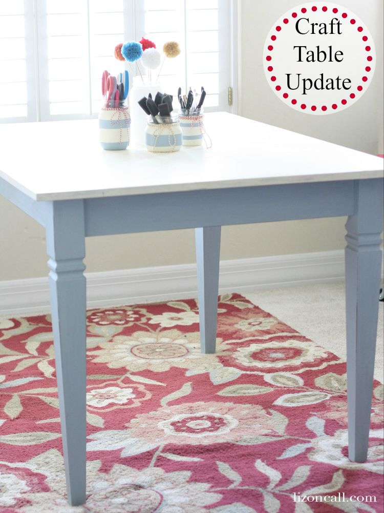 Revamped this cheap laminate topped table into a bright and fun centerpiece for my craft room using Deco Art chalky finish paints