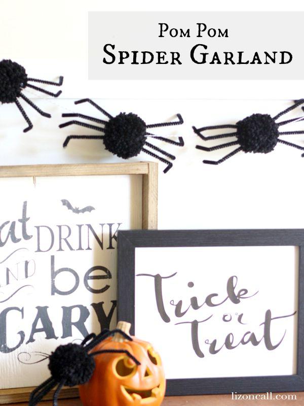 Pom pom spider garland tutorial. Such a fun decoration for Halloween @lizoncall.com