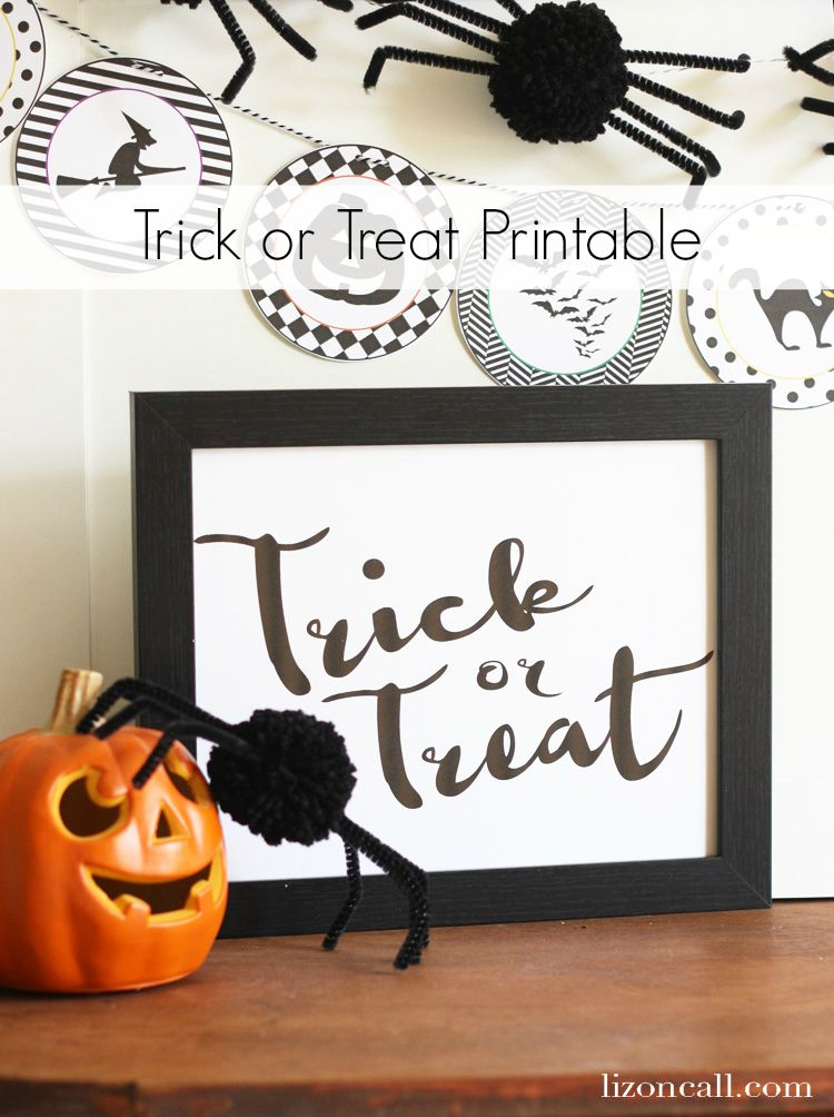 Free printable Trick or Treat sign. Fun to add to your halloween decor. - lizoncall.com