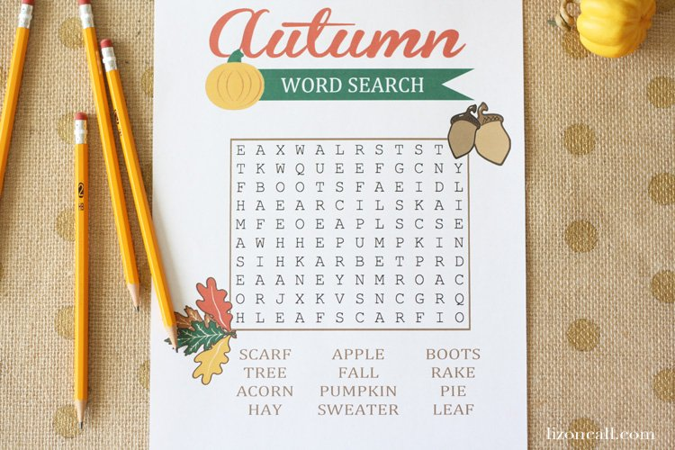 Free printable autumn word search for kids at lizoncall.com