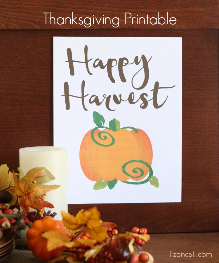 Happy Harvest Free Thanksgiving Printable available for download at lizoncall.com