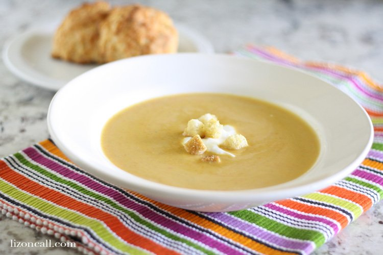 Creamy butternut squash soup made in the slow cooker. It's easy, delicious and perfect for fall and winter.