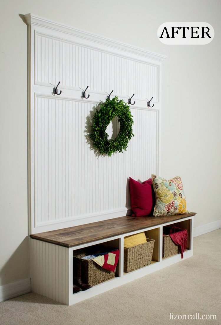 Details and tutorial to make a DIY mudroom bench to store all those backpacks, jackets and shoes. - lizoncall.com