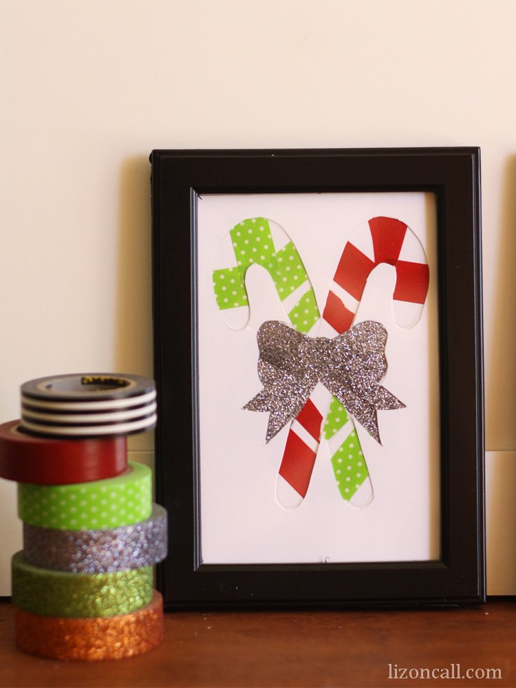 Create cute washi tape Christmas art with this tutorial and free printables. #CraftAmazing #ad