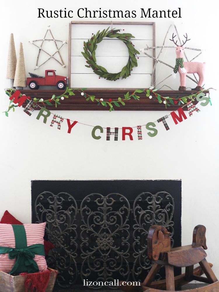 Rustic charm Christmas Mantel