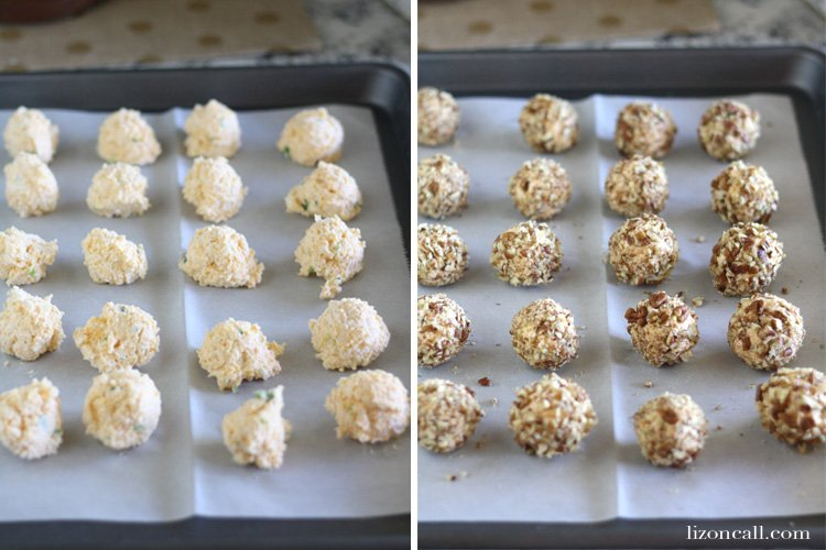 These mini cheese balls are the perfect size for holiday party entertaining