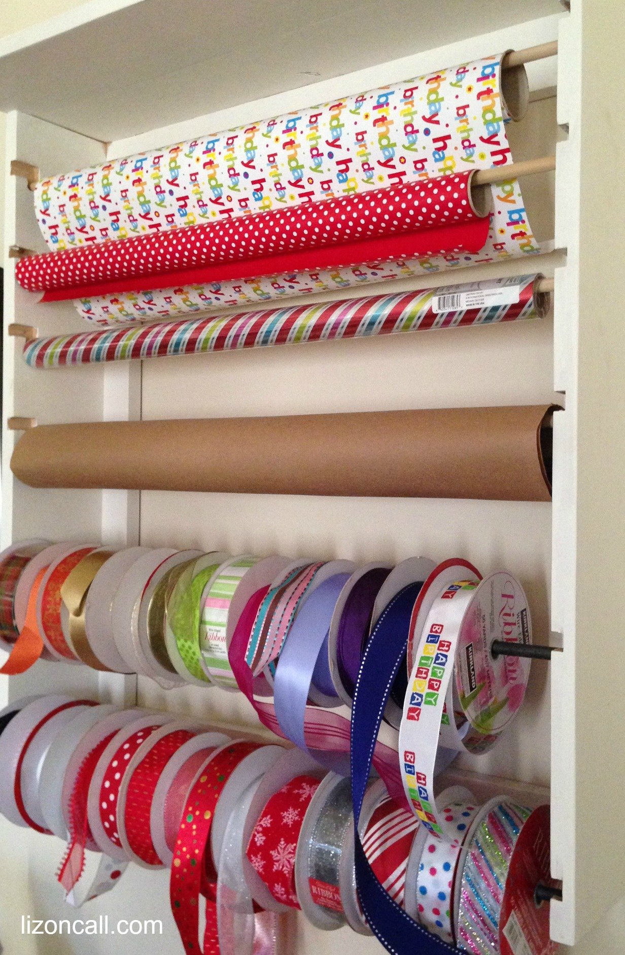 wrapping paper and ribbon organizer for the gift giver