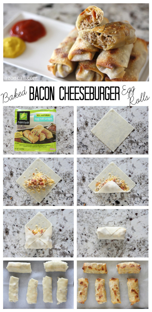 baked bacon cheeseburger egg rolls