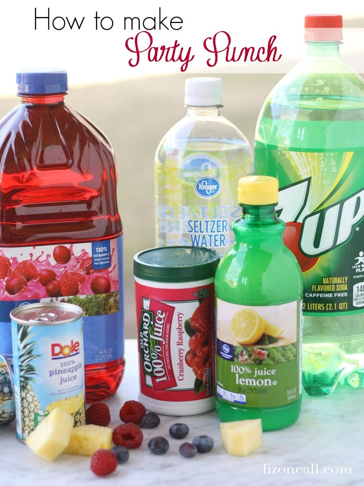 titled image- how to make party punch - image shows bottles and cans of ingredients to make party punch
