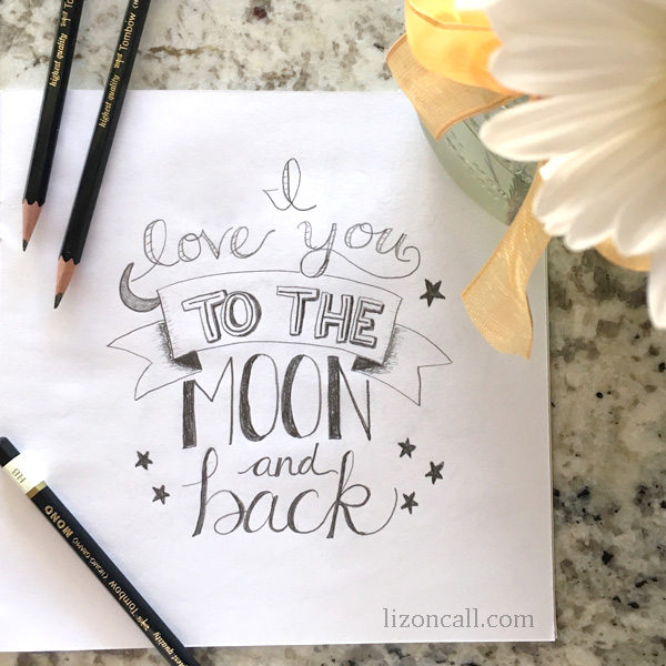 I love you to the moon and back hand drawn word art. Download the free printable version of this cute design. I love you to the moon and back free printable @lizoncall.com