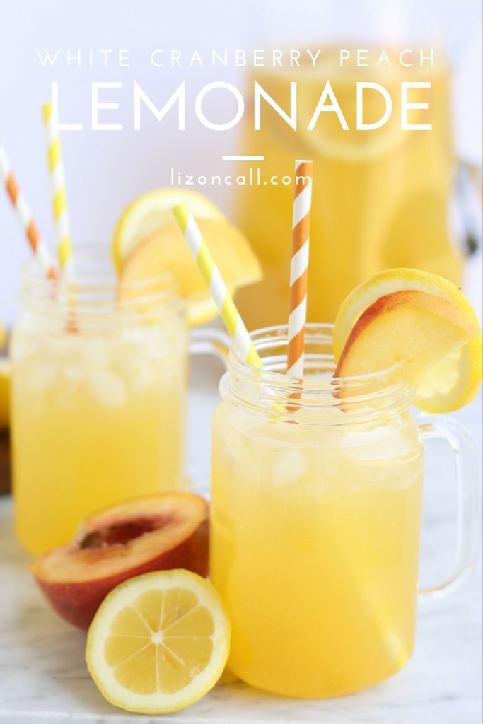 This white cranberry peach lemonade recipe is perfect for all your summer entertaining.