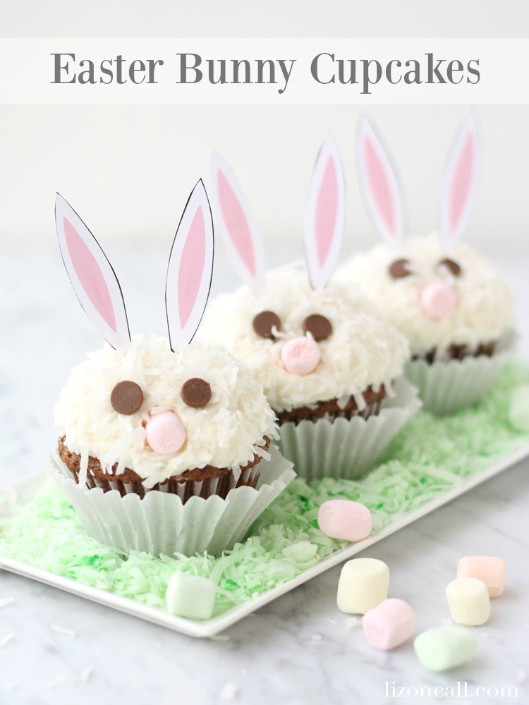 Carrot Cake Easter Bunny Cupcakes with free printable bunny ears. A fun dessert for your Easter celebrations.