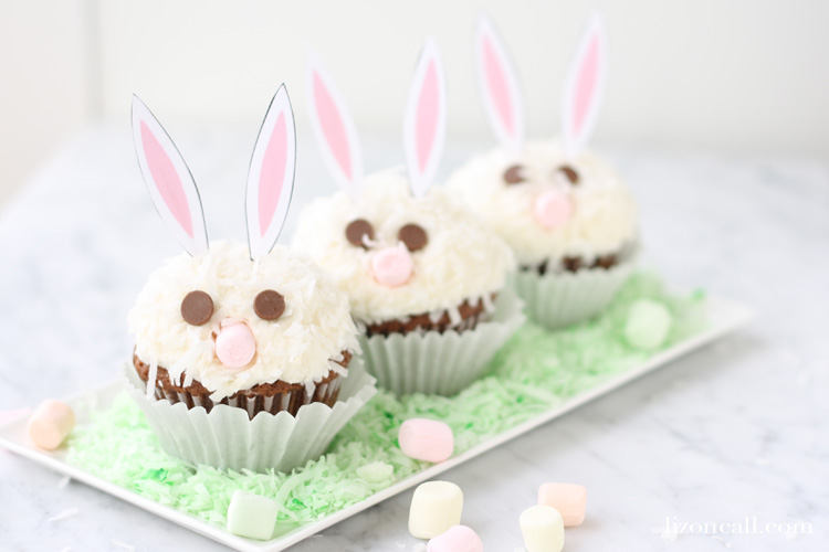 Carrot Cake Easter Bunny Cupcakes with Free Printable Bunny Ears From scratch delicious carrot cake recipe with cream cheese frosting and printable bunny ears to make the cutest cupcakes for your Easter celebrations.