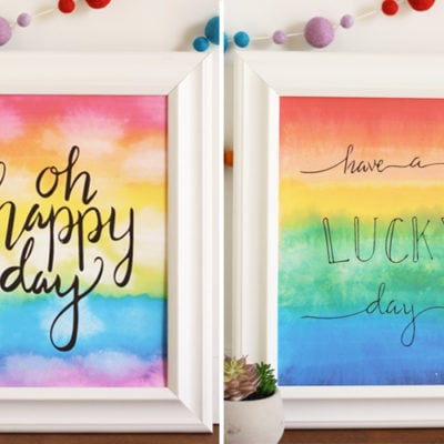 Oh happy day! Watercolor and hand lettering together in this free St. Patrick's Day printable. 2 options to choose from.