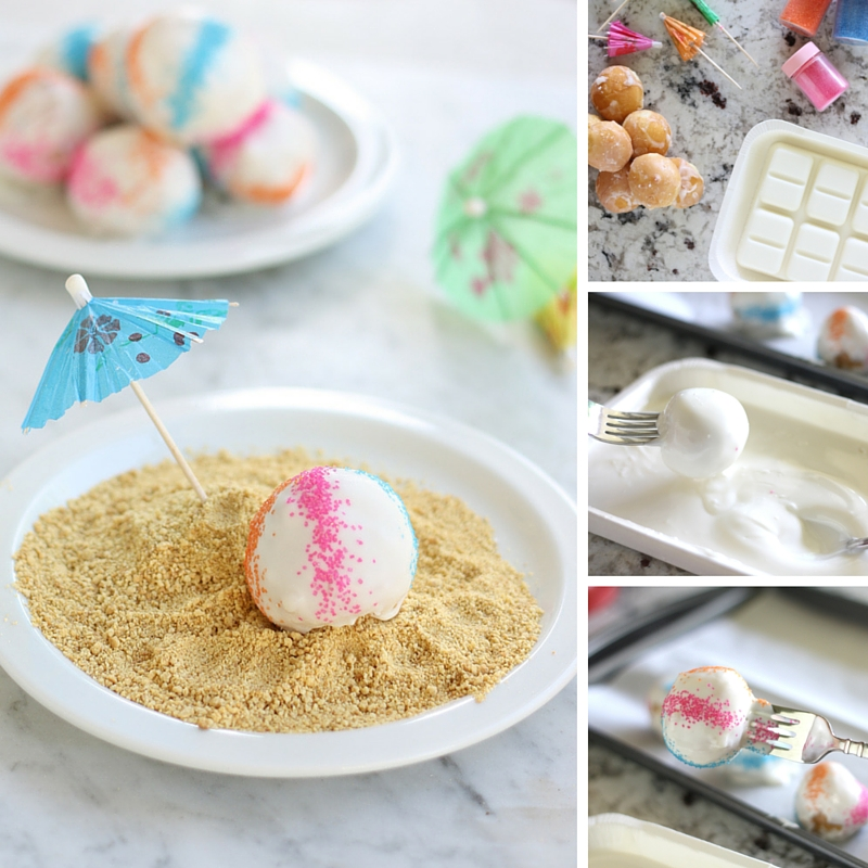 Get the kids involved in the kitchen this summer making these beach ball donuts.