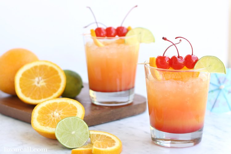 glasses of Mai Tai Mocktail party punch