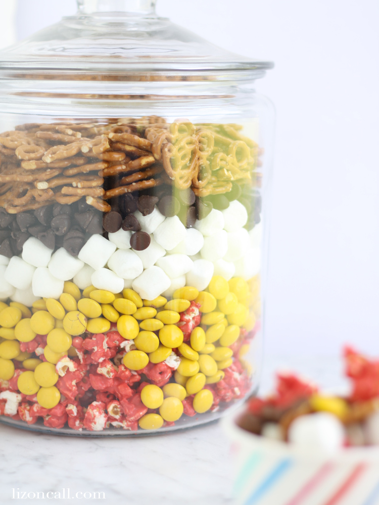 Disney fans will love this Mickey Mouse munch mix. It's perfect for Disney themed parties or just for fun!