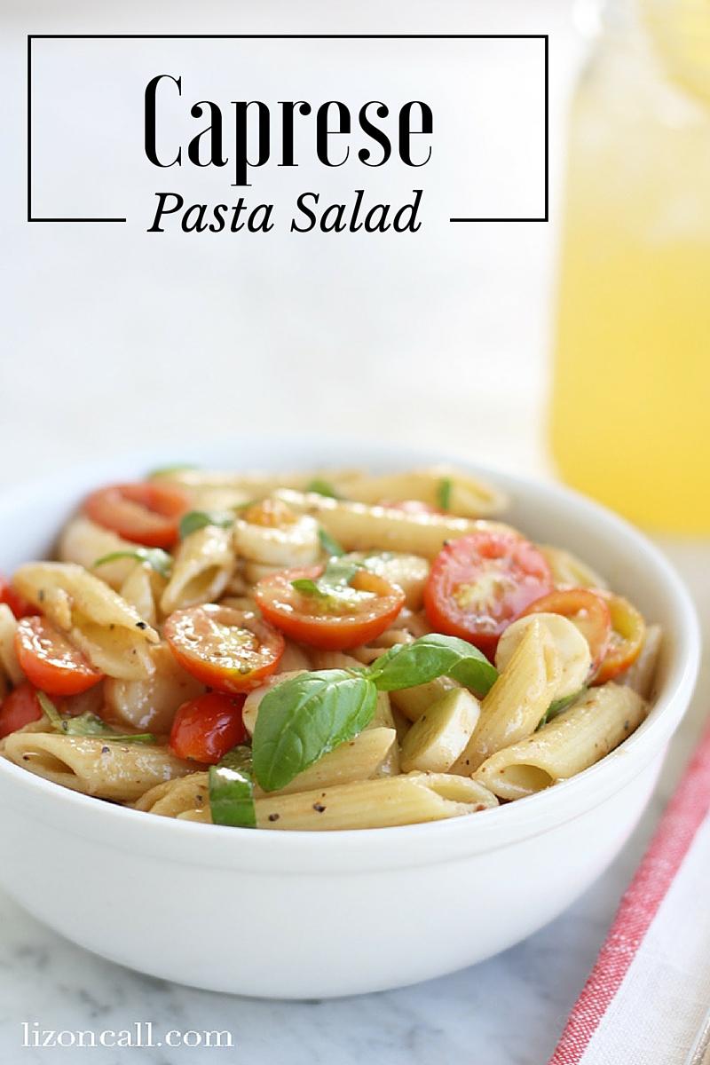 Bring this caprese pasta salad to your next summer bar-b-cue.
