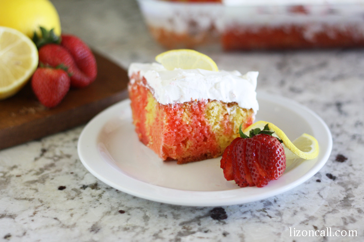 Sign up to bring dessert to your next potluck and make this strawberry lemonade poke cake. It's the perfect refreshing dessert for those summer bar-b-cues.
