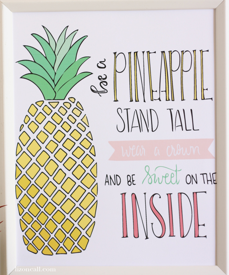 This free pineapple printable will make a great addition to a little girls room. It's a wonderful reminder of to be strong.