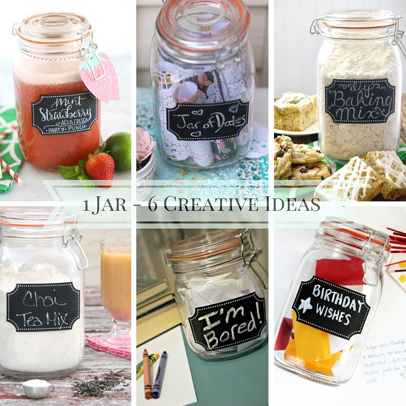 titled photo collage (and shown): 1 Jar, 6 Creative Ideas