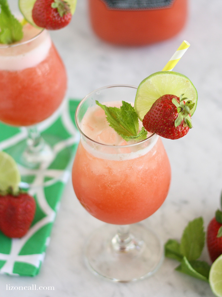 Strawberry mint agua fresca party punch is a cool and refreshing party drink any time of year.