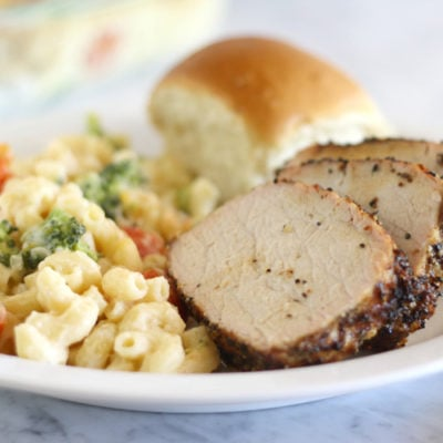 Grilled Pork Tenderloin with Veggie Mac & Cheese