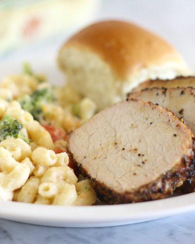 Grilled Pork Tenderloin with Veggie Mac & Cheese