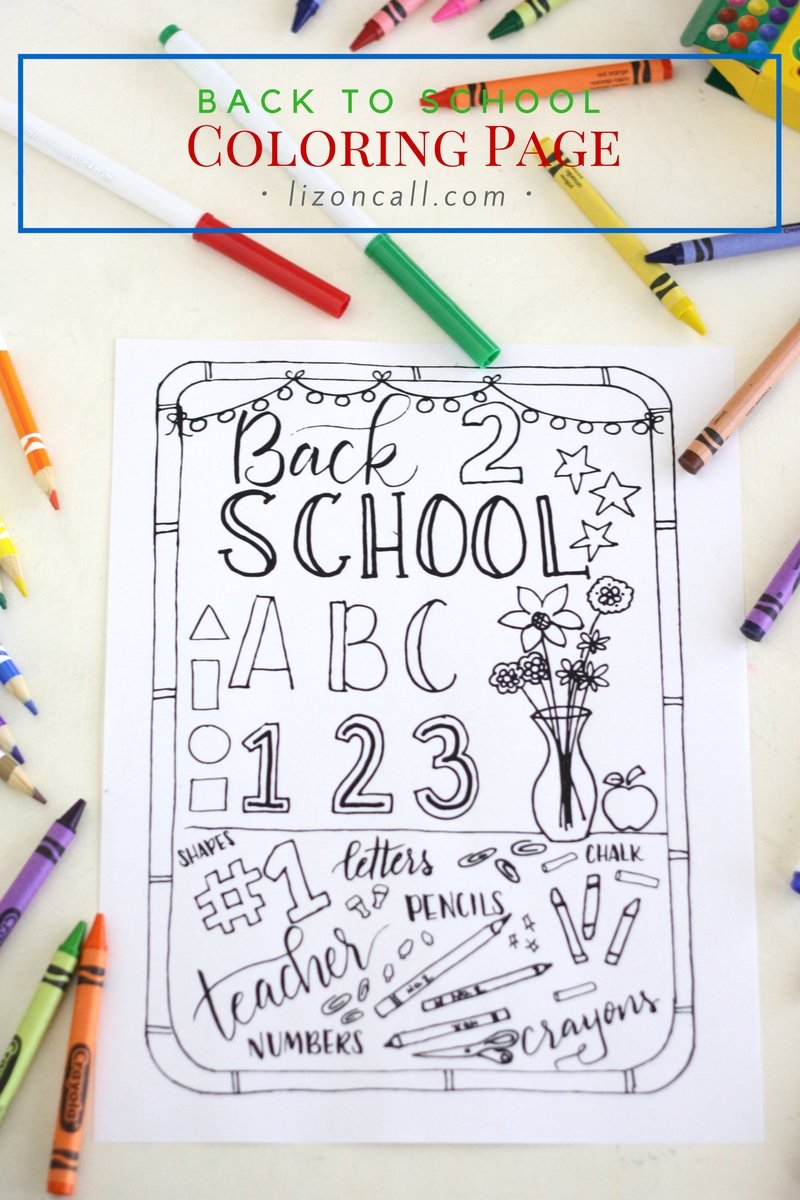 Get the kids excited to about starting school with this free printable back to school coloring page.