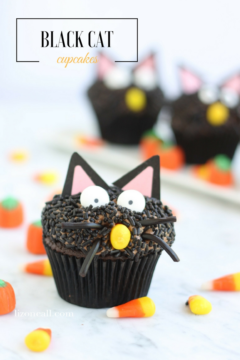 These black cat cupcakes are a fun, cute and delicious addition to any Halloween party!