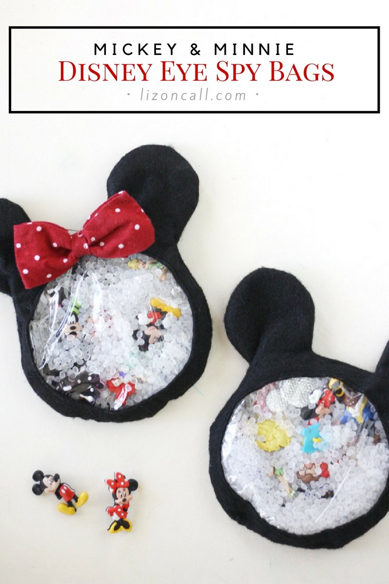 These Mickey and Minnie Disney eye spy bags are so fun for your little Disney fans. They are great for road trips and waiting in those lines at the parks. DIsney I spy bags.