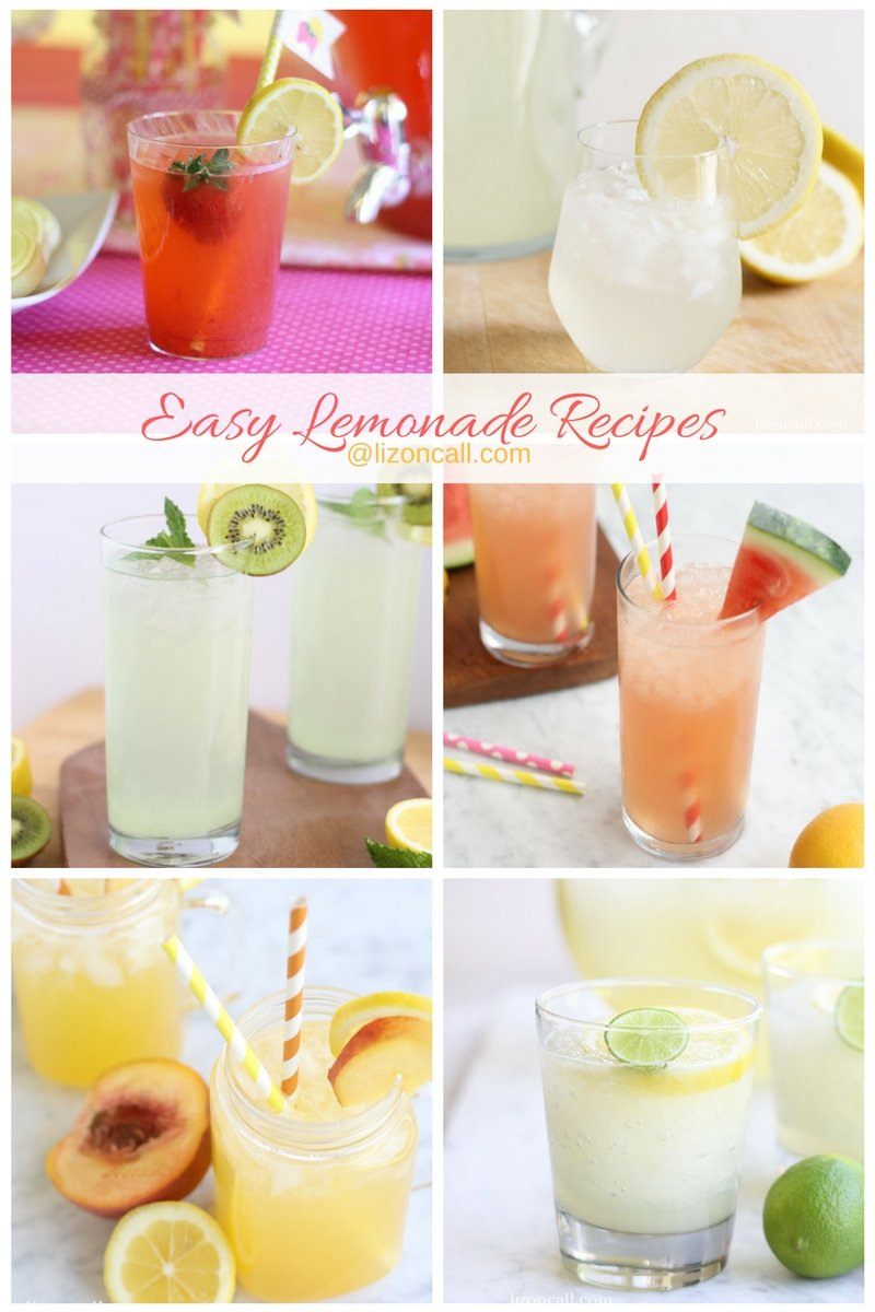 Easy lemonade recipe.  The best lemonade recipes that are easy to make and everyone will love.  Lemonade recipes that are perfect for summer parties, bar-b-cues, tailgating, family get togethers and showers.