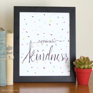 Sprinkle kindness inspiration hand lettered watercolor print - available at lizoncall.com