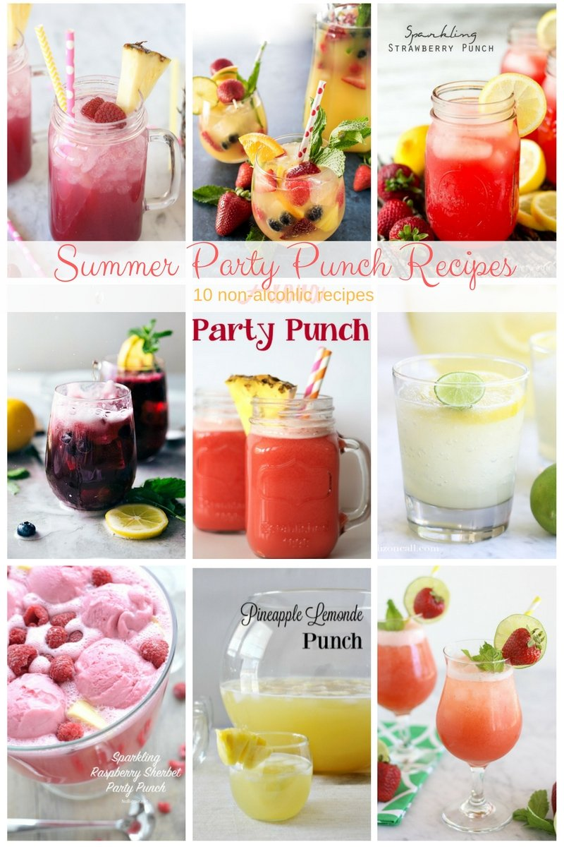 10 non-alcoholic summer party punch recipes for your summer barbecues, pool parties, cookouts and family get togethers.