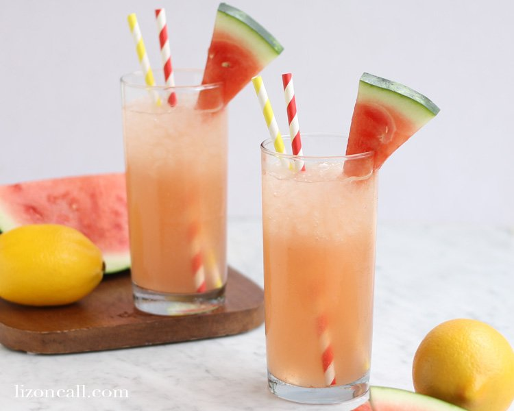 This watermelon lemonade is full of sweet watermelon flavor, perfect for those hot summer days.