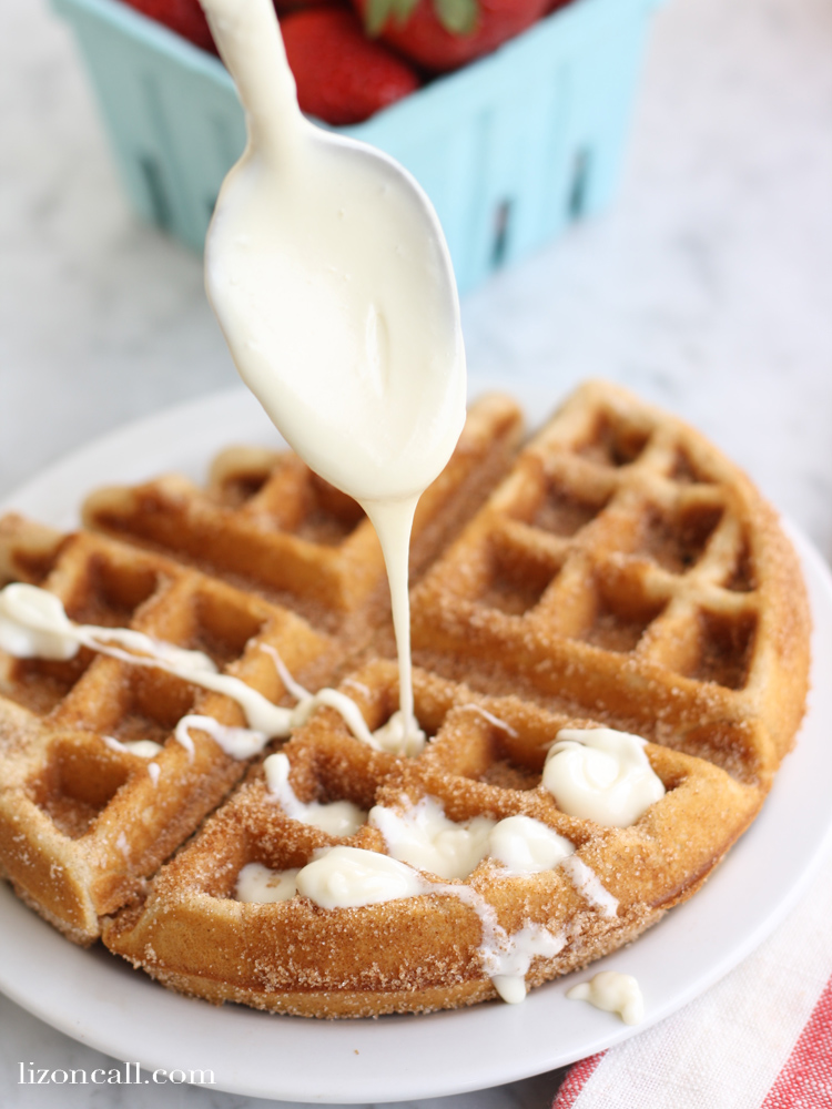 e churro waffles are sure to be a hit with the whole family. And with the cream cheese glaze, you'll think you're having dessert for breakfast!