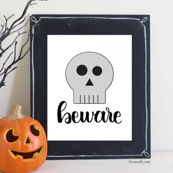 Hand lettered beware skull print available at lizoncall.com shop
