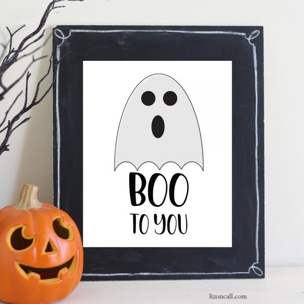 hand lettered boo to you print available at lizoncall.com shop