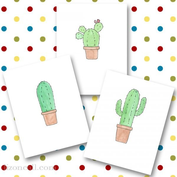 A fun set of 3 succulent printables - hand drawn and watercolored available at lizoncall.com