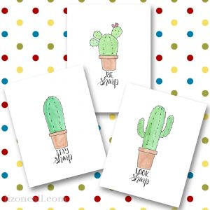 A fun set of 3 succulent printables - hand lettered and watercolored available at lizoncall.com